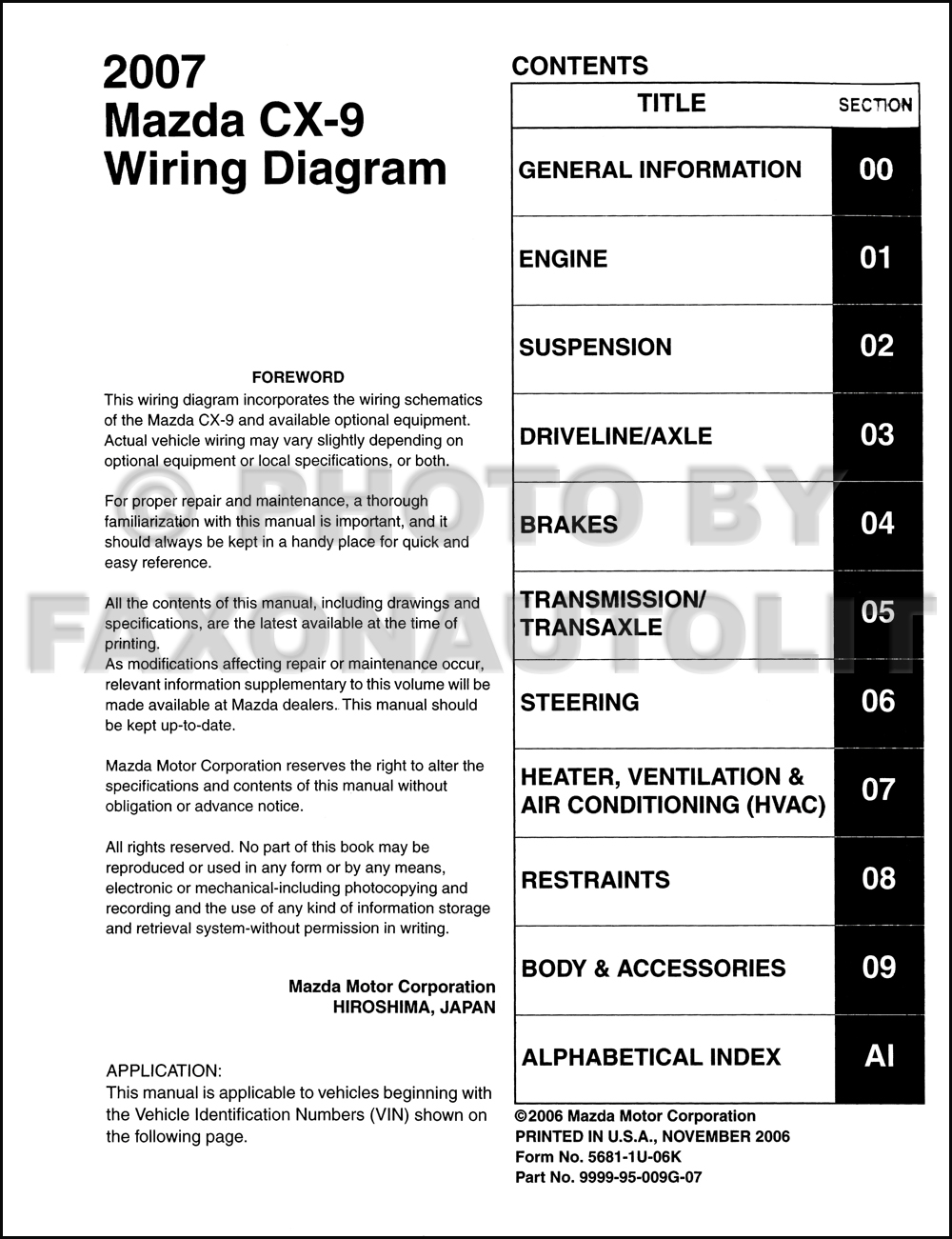 2007MazdaCX9OWD TOC 2007 mazda cx 9 wiring diagram manual original Mazda CX- 5 at mifinder.co