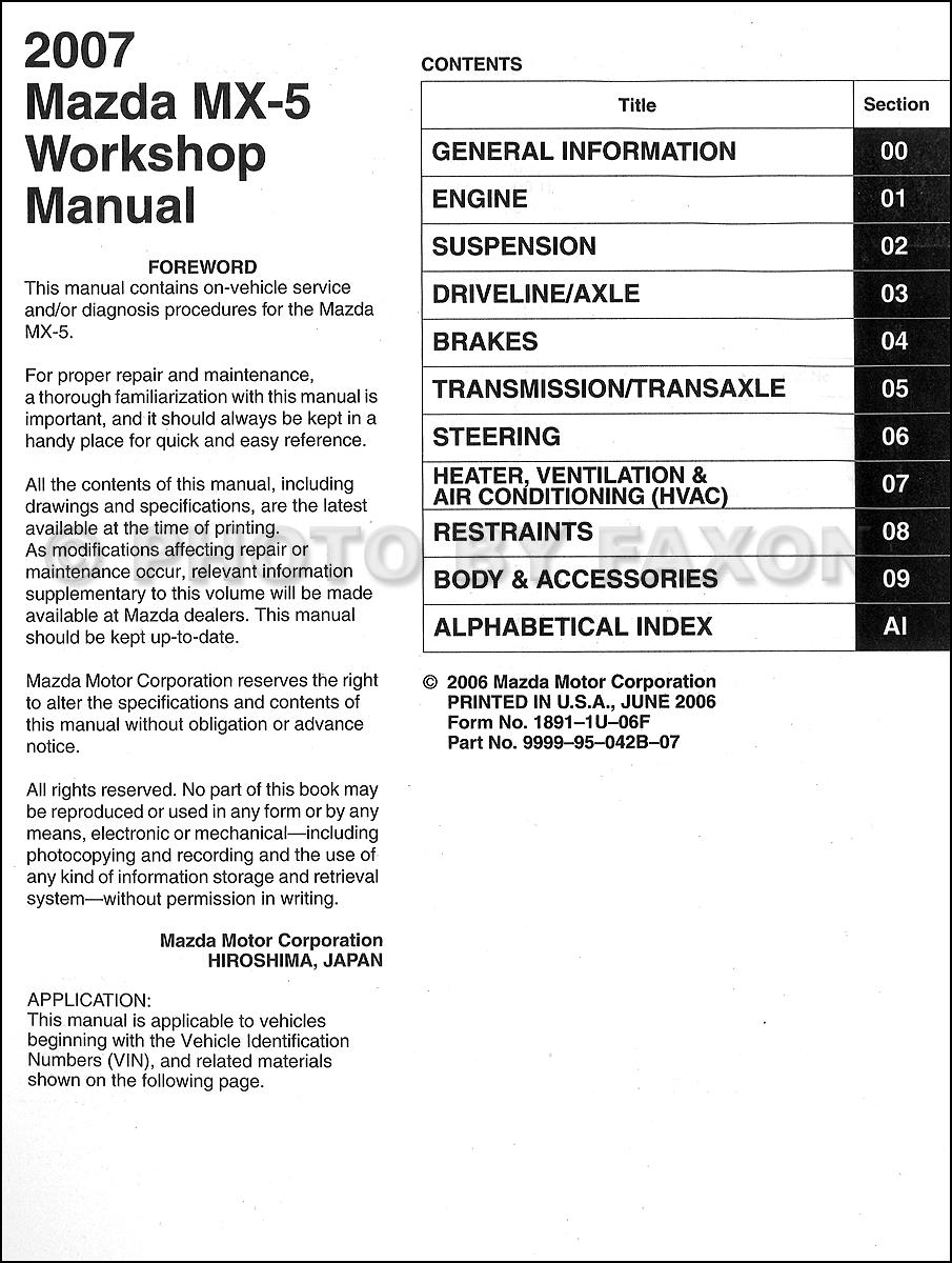 motor auto repair manual 2007 mazda mx 5 lane departure. Black Bedroom Furniture Sets. Home Design Ideas