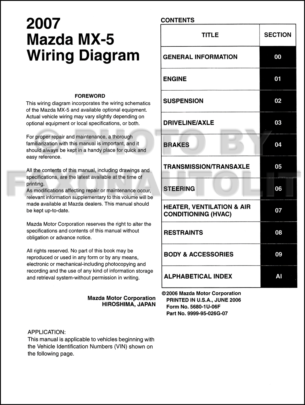 2007 mazda mx 5 miata wiring diagram manual original. Black Bedroom Furniture Sets. Home Design Ideas