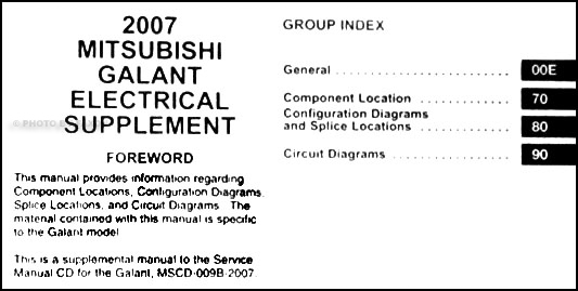 2007 mitsubishi galant wiring diagram manual original. Black Bedroom Furniture Sets. Home Design Ideas