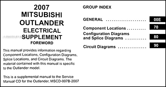 2007 mitsubishi outlander wiring diagram manual original rh faxonautoliterature com mitsubishi outlander manual transmission mitsubishi outlander manual 2007