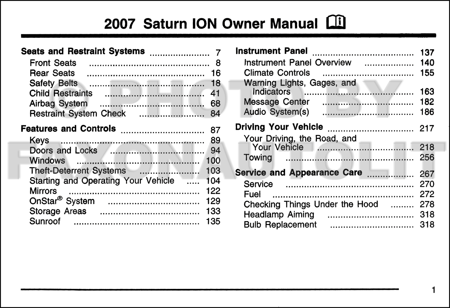 2007 saturn ion owner s manual original rh faxonautoliterature com saturn ion 2007 owners manual pdf 2007 Saturn Ion Exhaust System