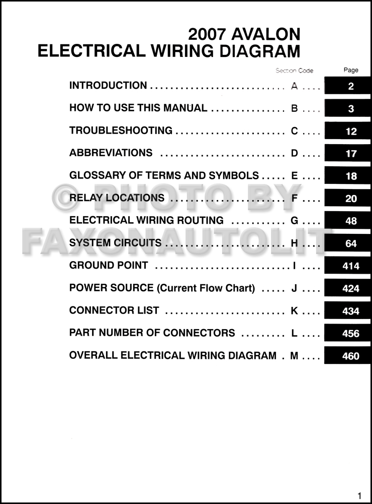 2007 Toyota Avalon    Wiring       Diagram    Manual Original