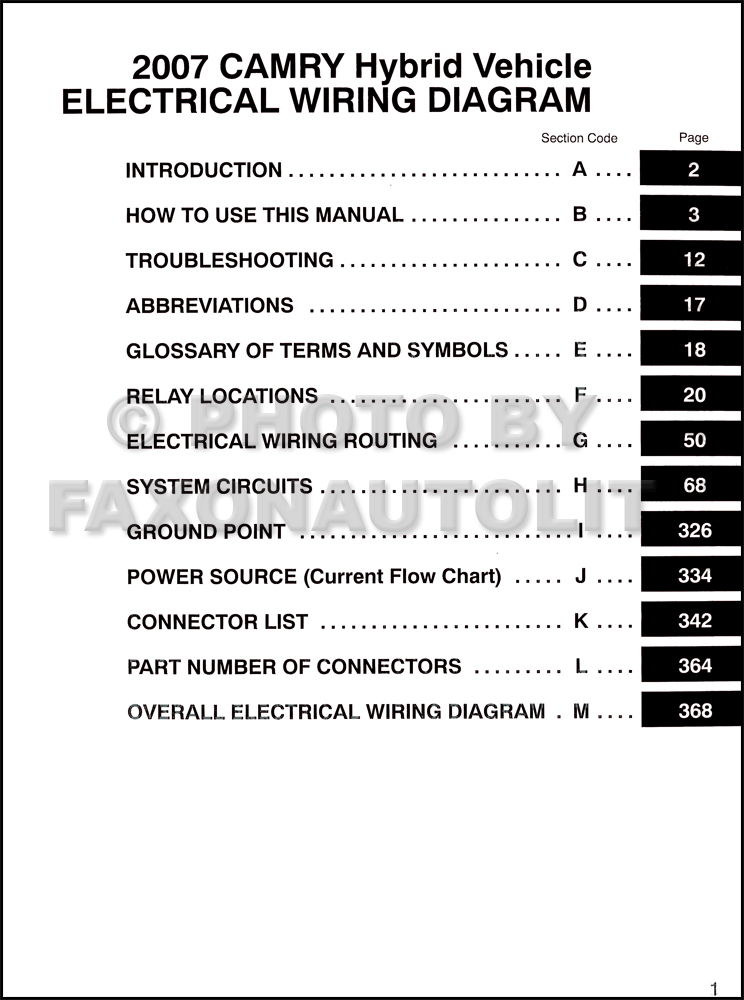 Toyota camry hybrid wiring diagram manual original