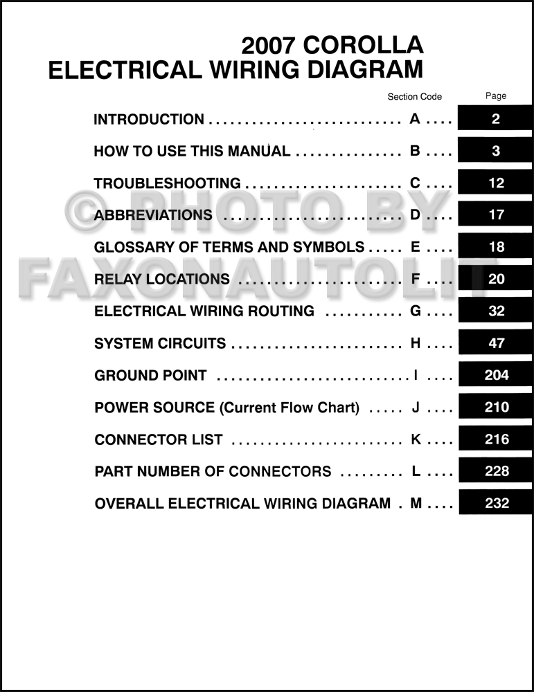 2007 Toyota Corolla Wiring Diagram Manual Original