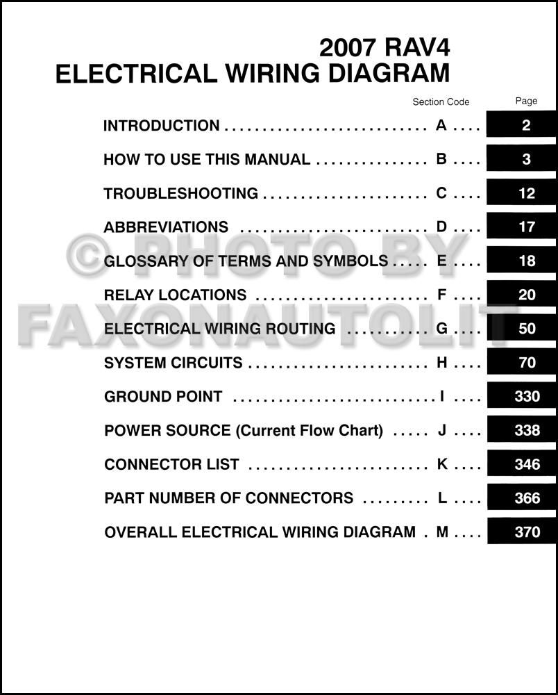 2007 Toyota Rav4 Wiring Diagram Manual Original