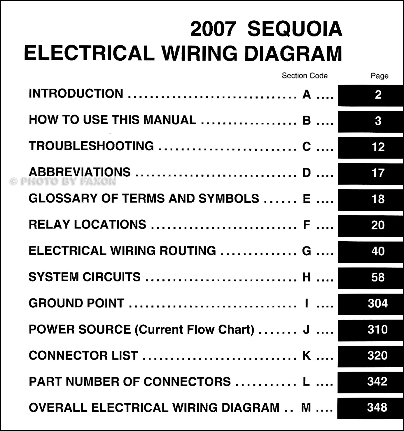 2007 toyota sequoia wiring diagram manual original 1999 toyota camry wiring diagram 2007 toyota sequoia wiring diagram manual original · table of contents