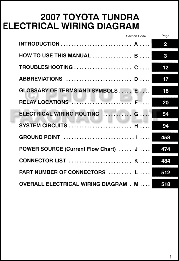 Toyota tundra wiring diagram manual original