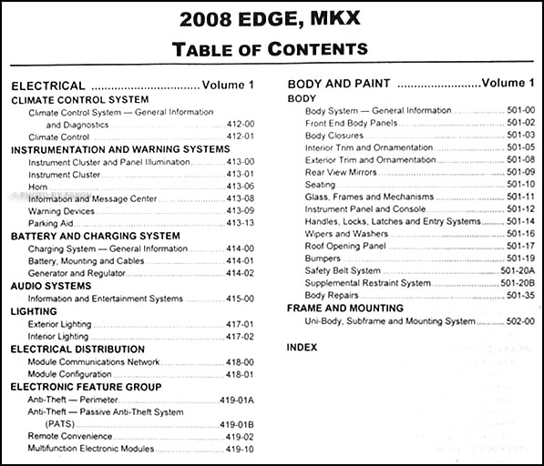 2008FordEdgeORM TOC2 2008 ford edge and lincoln mkx repair shop manual 2 volume set fuse box 2007 ford e350 at gsmx.co