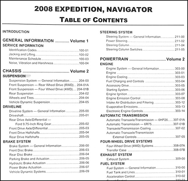 2008FordExpeditionORM TOC1 2008 expedition & navigator repair shop manual 2 volume set original 2008 ford expedition wiring diagram at bakdesigns.co
