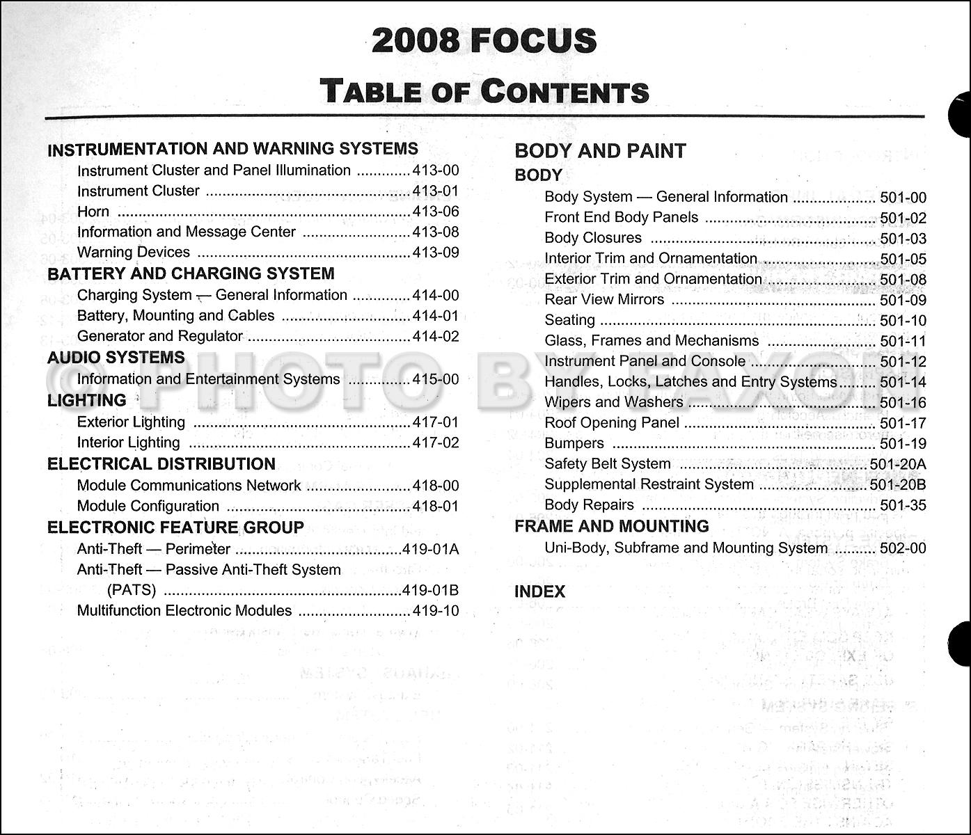 2008 ford focus repair shop manual original. Black Bedroom Furniture Sets. Home Design Ideas