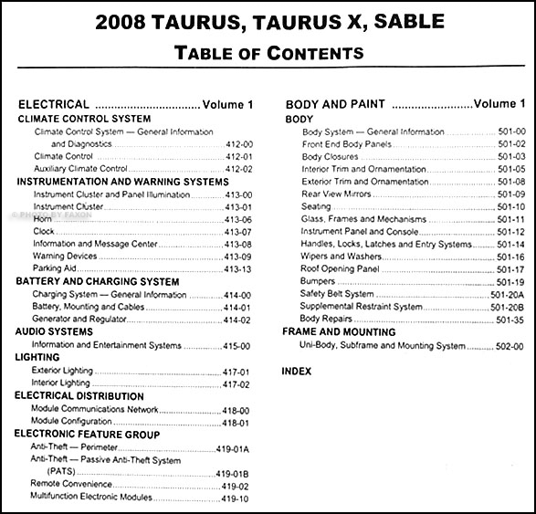 2008 ford taurus and sable repair shop manual original 2. Black Bedroom Furniture Sets. Home Design Ideas