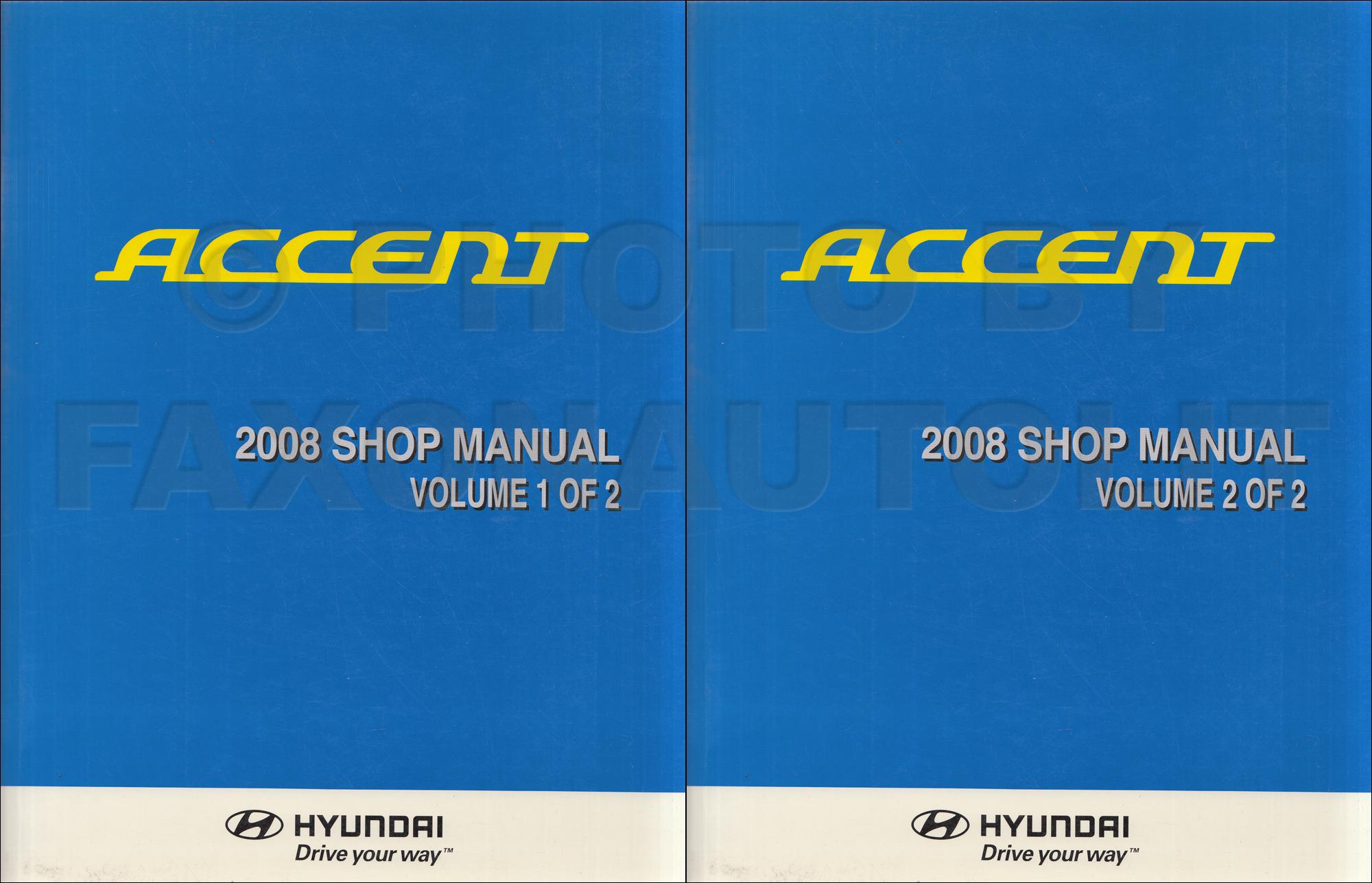 1999 Hyundai Accent Shop Manual Original 2 Volume Set
