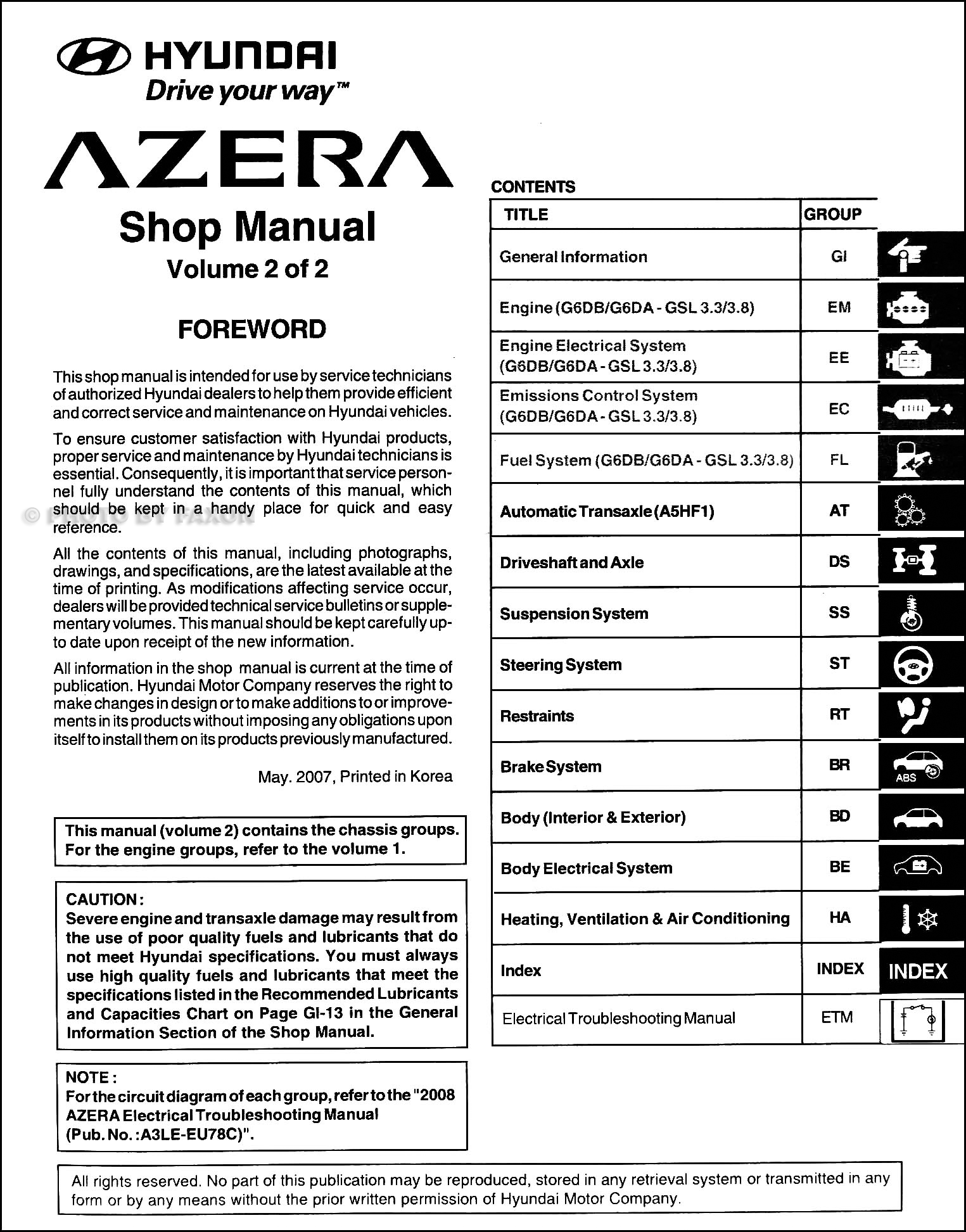 Hyundai Grandeur 2000 Workshop Manual