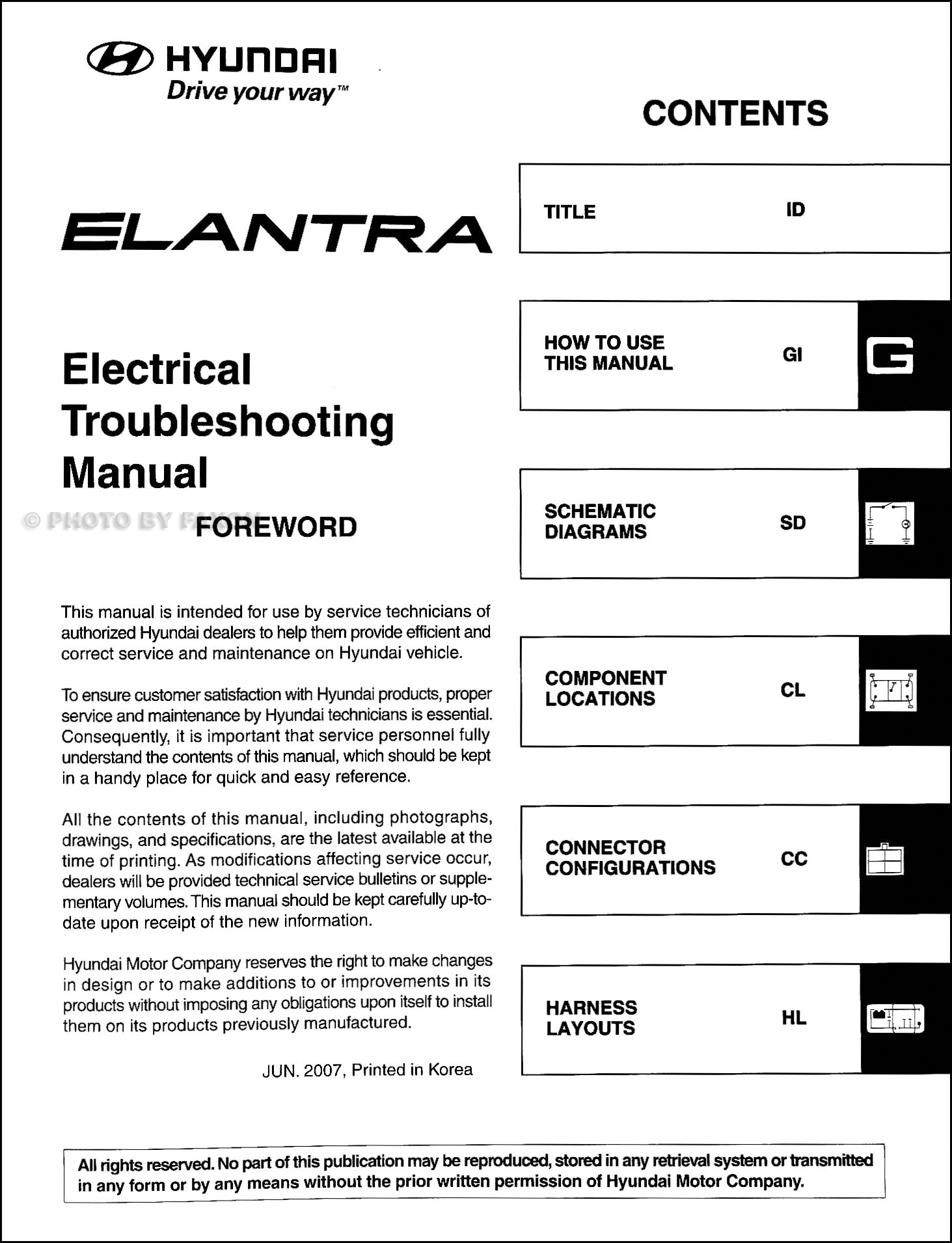 2008 Hyundai Elantra Electrical Troubleshooting Manual ...