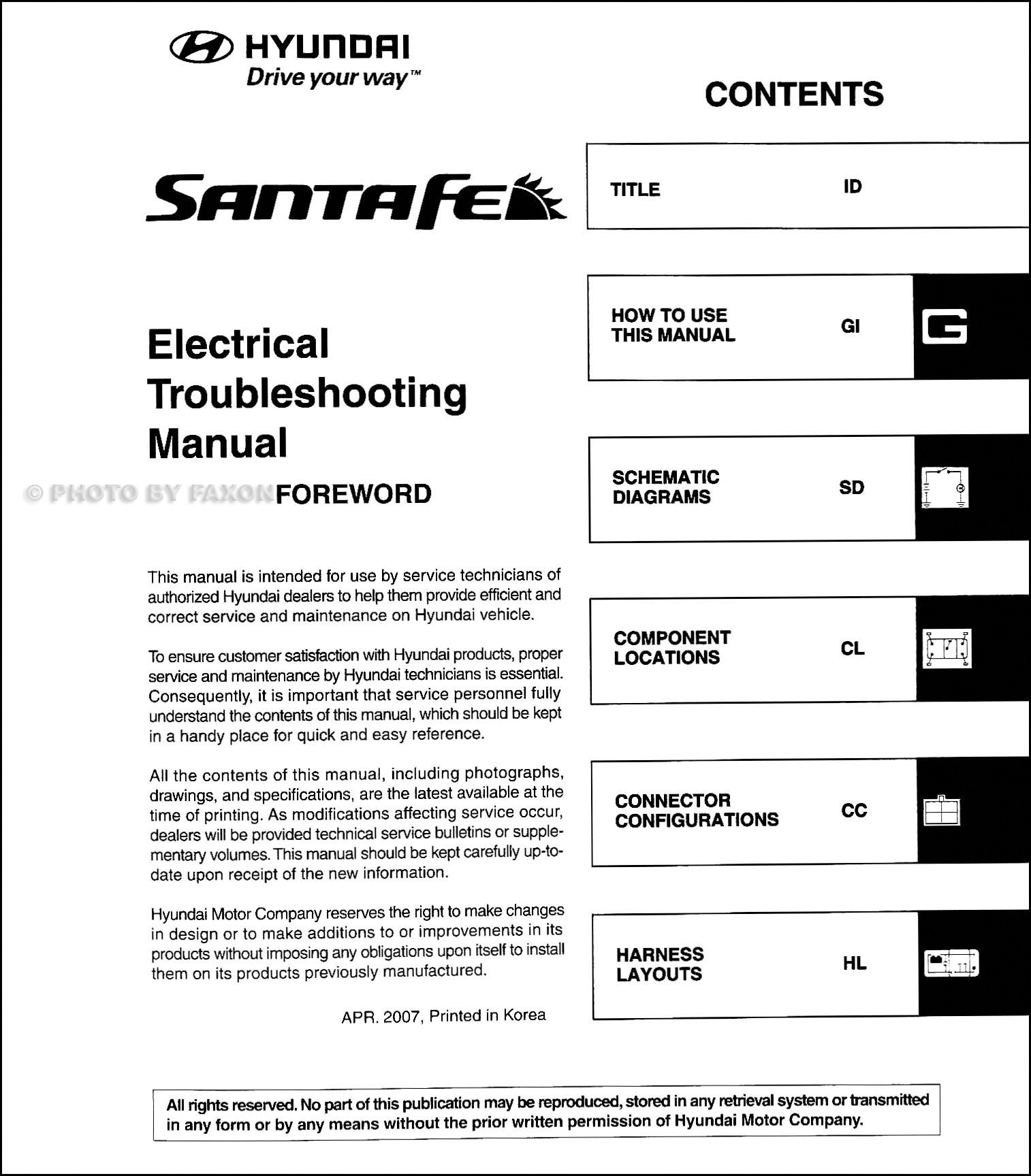 2008 Hyundai Santa Fe Electrical Troubleshooting Manual