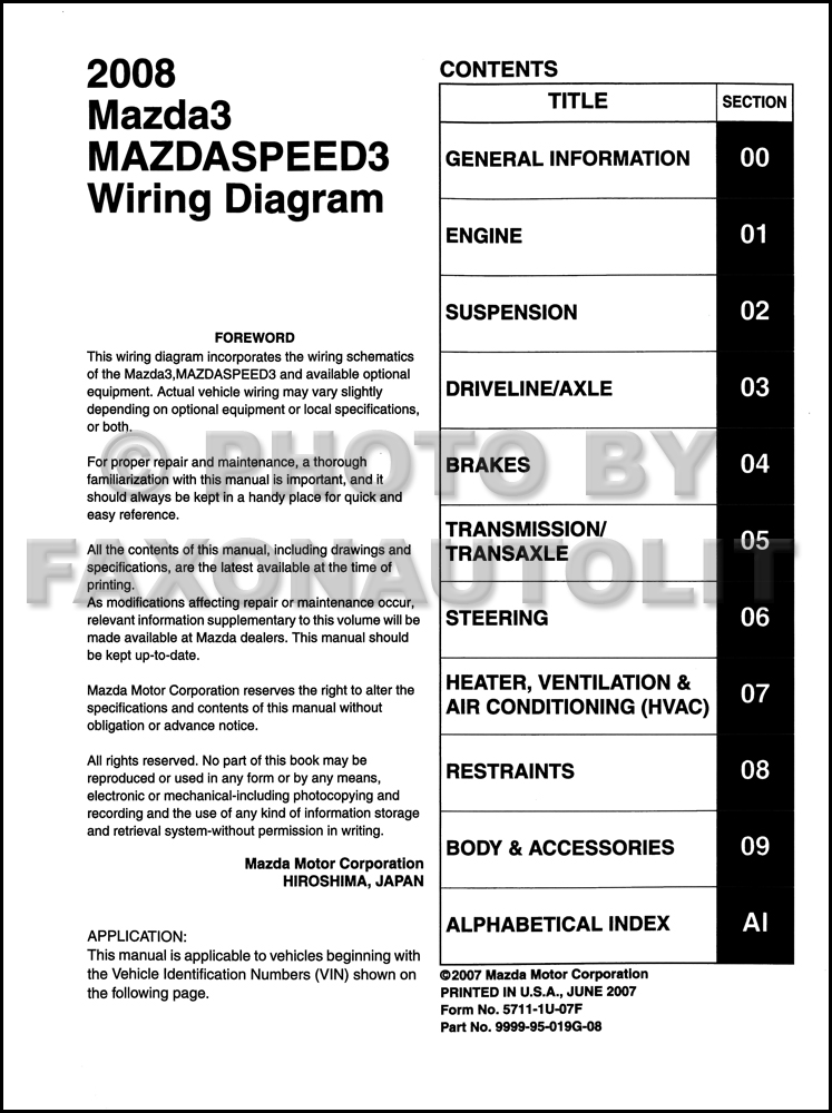 Wiring Diagram 2008 Mazda 3 : Mazda wiring diagram original