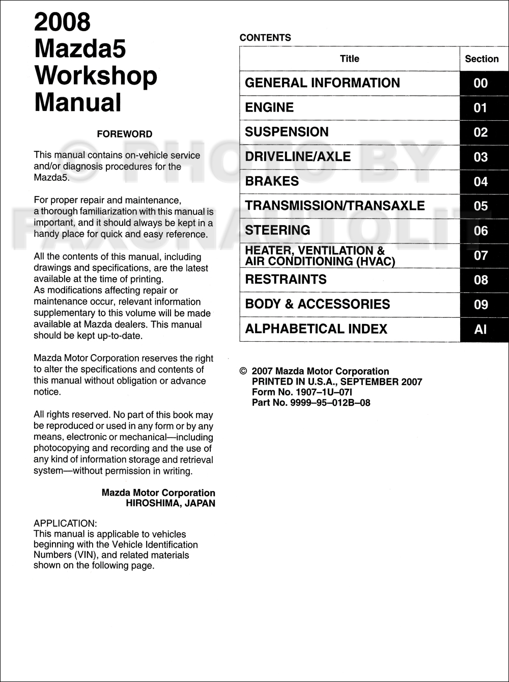 2008 mazda 5 repair shop manual original rh faxonautoliterature com mazda 5 workshop manual pdf mazda 5 repair manual pdf