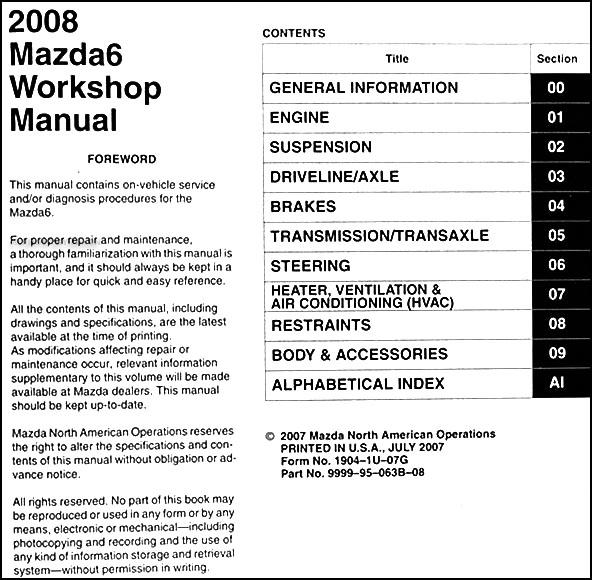 2008 mazda6 repair shop manual original mazda 6 rh faxonautoliterature com mazda 6 repair manual pdf free mazda 6 repair manual download