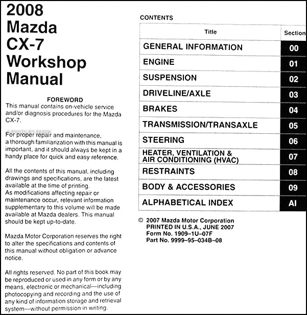 2008MazdaCX 7ORM TOC 2008 mazda cx 7 repair shop manual original 2007 mazda cx 7 wiring diagram at edmiracle.co