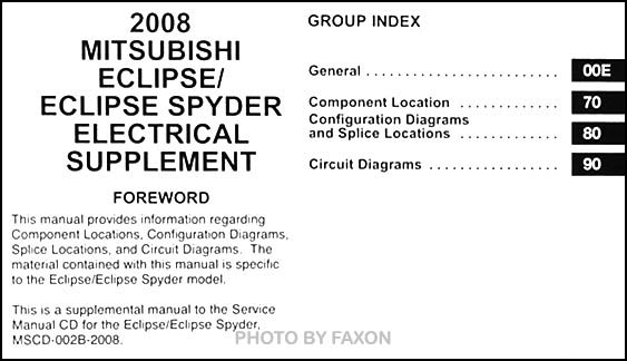 2008 mitsubishi eclipse spyder wiring diagram manual. Black Bedroom Furniture Sets. Home Design Ideas