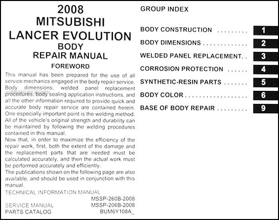2008 mitsubishi lancer evolution body manual original rh faxonautoliterature com manual lancer 2008 español manual lancer 2008 español