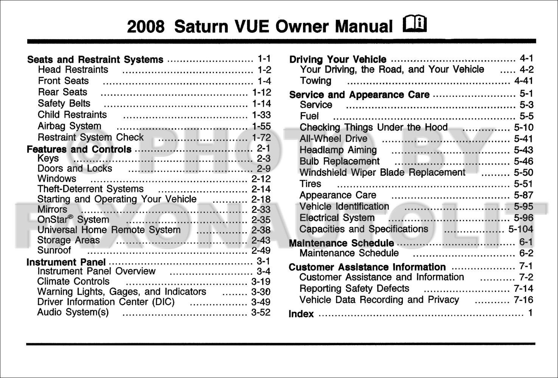 2008 saturn vue owner s manual original rh faxonautoliterature com 2005 saturn vue owner's manual pdf owners manual 2004 saturn vue