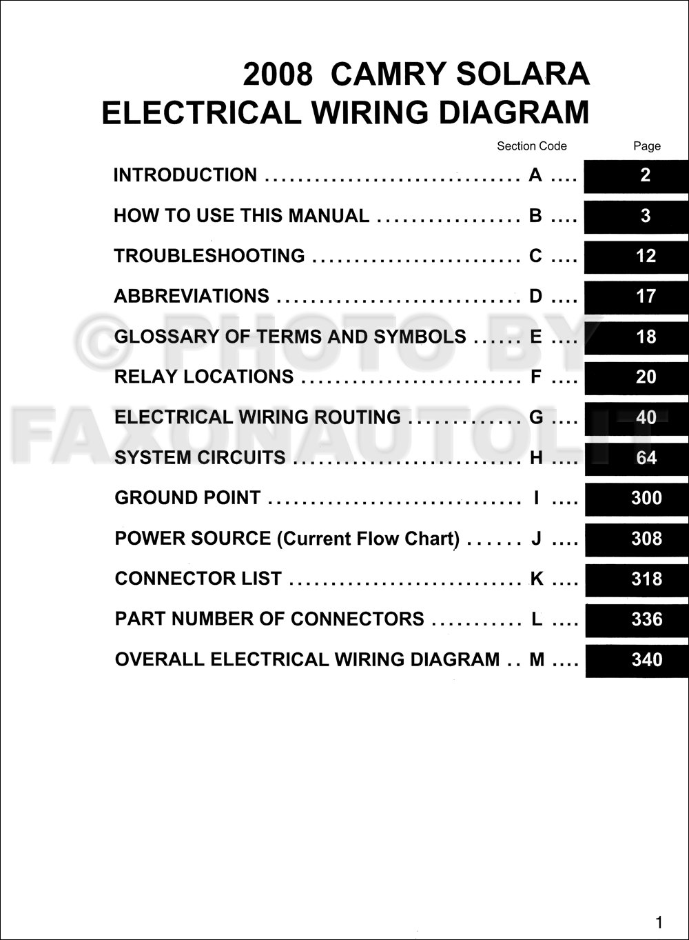 2008 Toyota Solara Wiring Diagram Manual Original