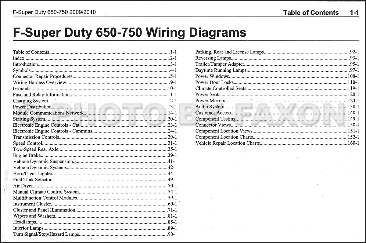 2009 10FordF650 750OWD TOC 2009 2010 ford f650 f750 medium truck wiring diagram manual original ford f750 wiring diagram at mifinder.co