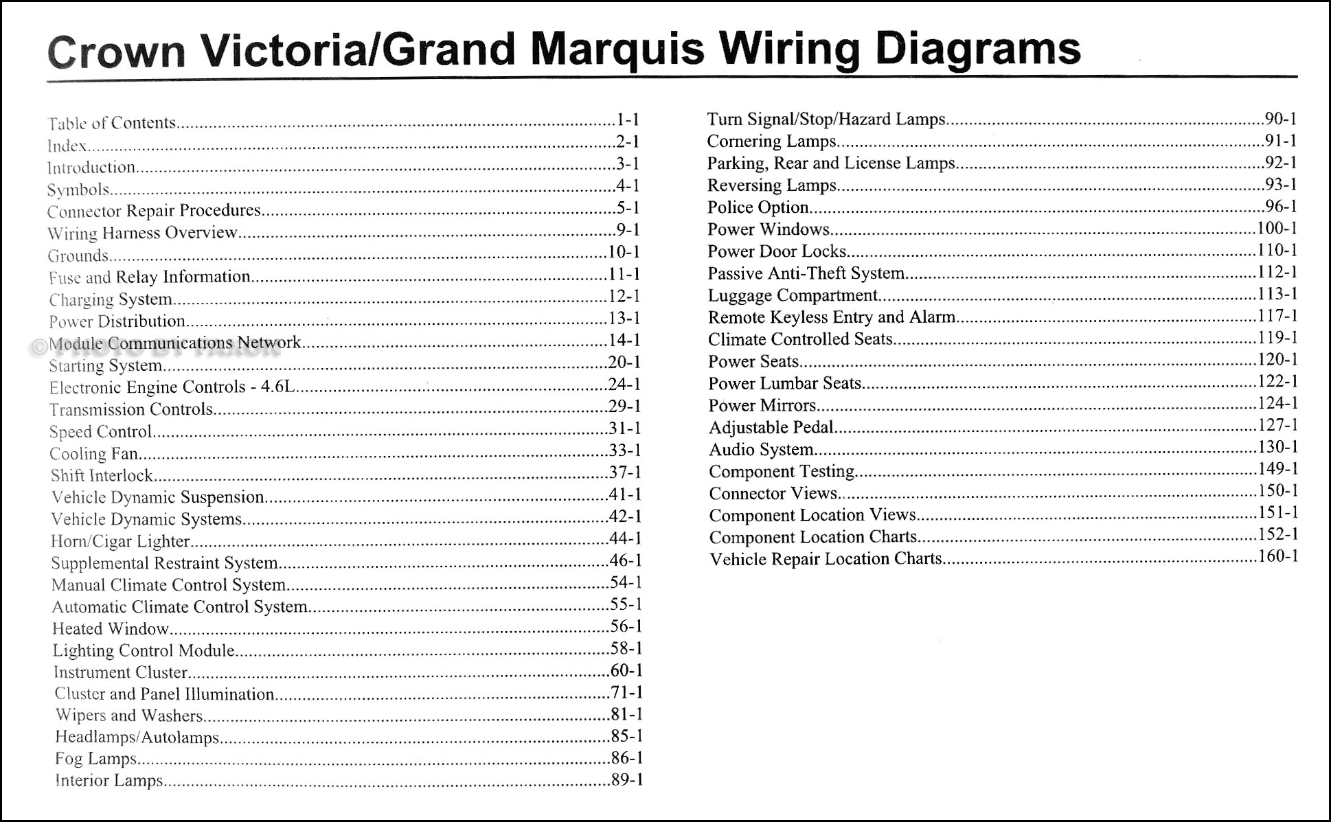 2009FordCrownVictoriaOWD TOC 2009 crown victoria & grand marquis original wiring diagram manual 2006 ford crown victoria wiring diagram at crackthecode.co
