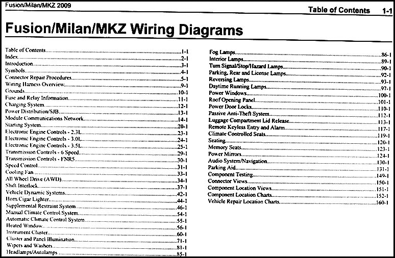 2009FordFusionOWD TOC 2009 fusion milan mkz wiring diagram manual original 2012 ford fusion wiring diagram at readyjetset.co