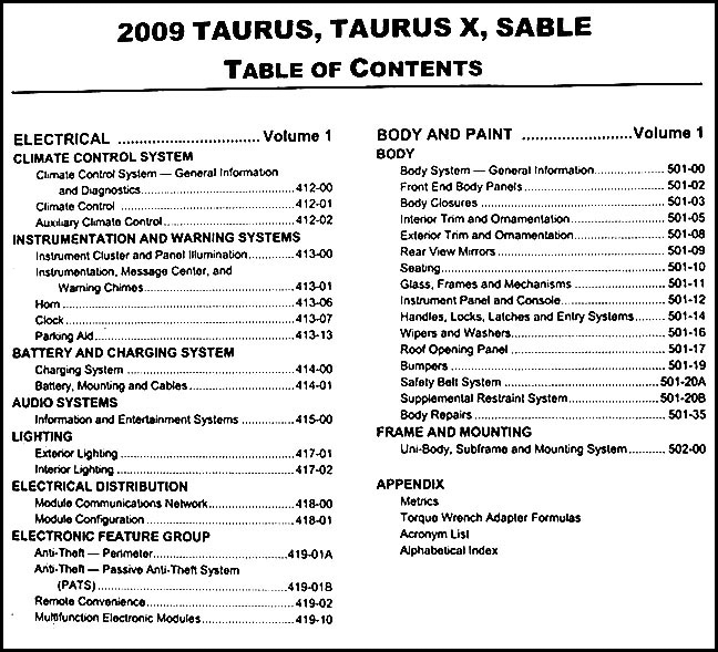 2009 ford taurus and sable repair shop manual original 2. Black Bedroom Furniture Sets. Home Design Ideas