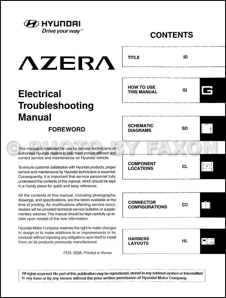 service manual  free workshop manual 2009 hyundai azera 2006 hyundai azera radio wiring diagram 2006 Hyundai Azera Problems