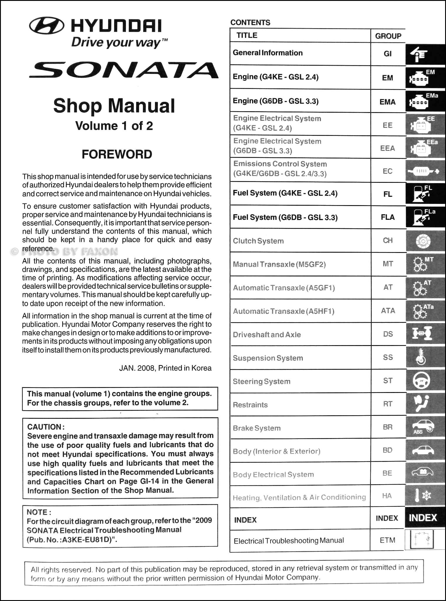 2009 hyundai sonata repair shop manual 2 volume set original rh faxonautoliterature com 2006 Hyundai Sonata Dub Hyundai Sonata OEM Parts