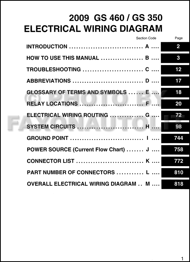 2009 Lexus Gs 350 And Gs 460 Wiring Diagram Manual Original