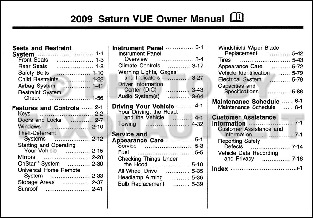 2009 saturn vue owner s manual original rh faxonautoliterature com 2010 Saturn Vue 2009 saturn vue hybrid owners manual