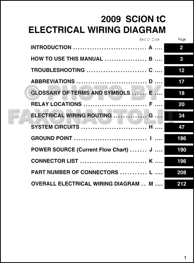 2009 scion tc wiring diagram manual original rh faxonautoliterature com Electrical Wiring Diagrams for Cars Residential Electrical Wiring Diagrams