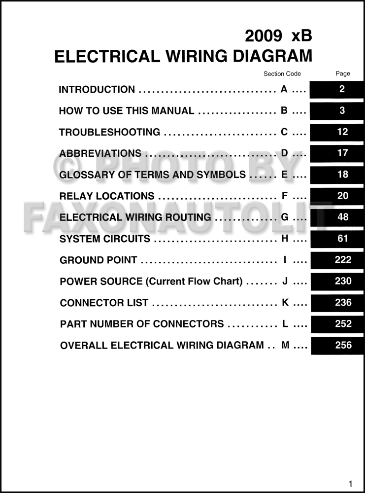 2009 scion xb wiring diagram manual original rh faxonautoliterature com 2009 Scion XD Interior 2009 scion xb wiring diagram
