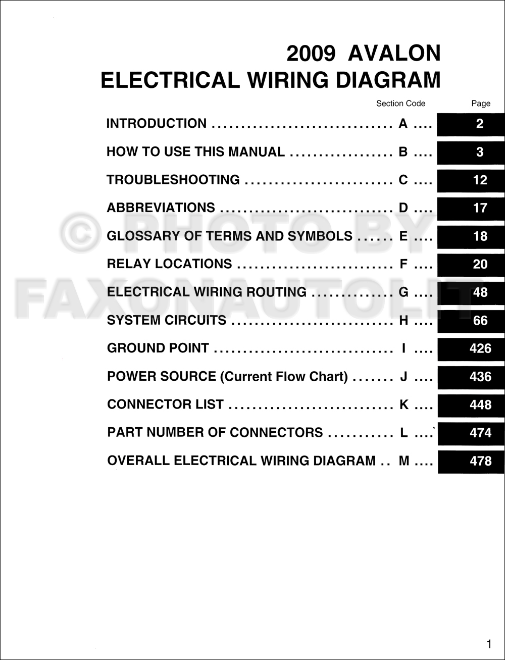 2009 Toyota Avalon Wiring Diagram Manual Original