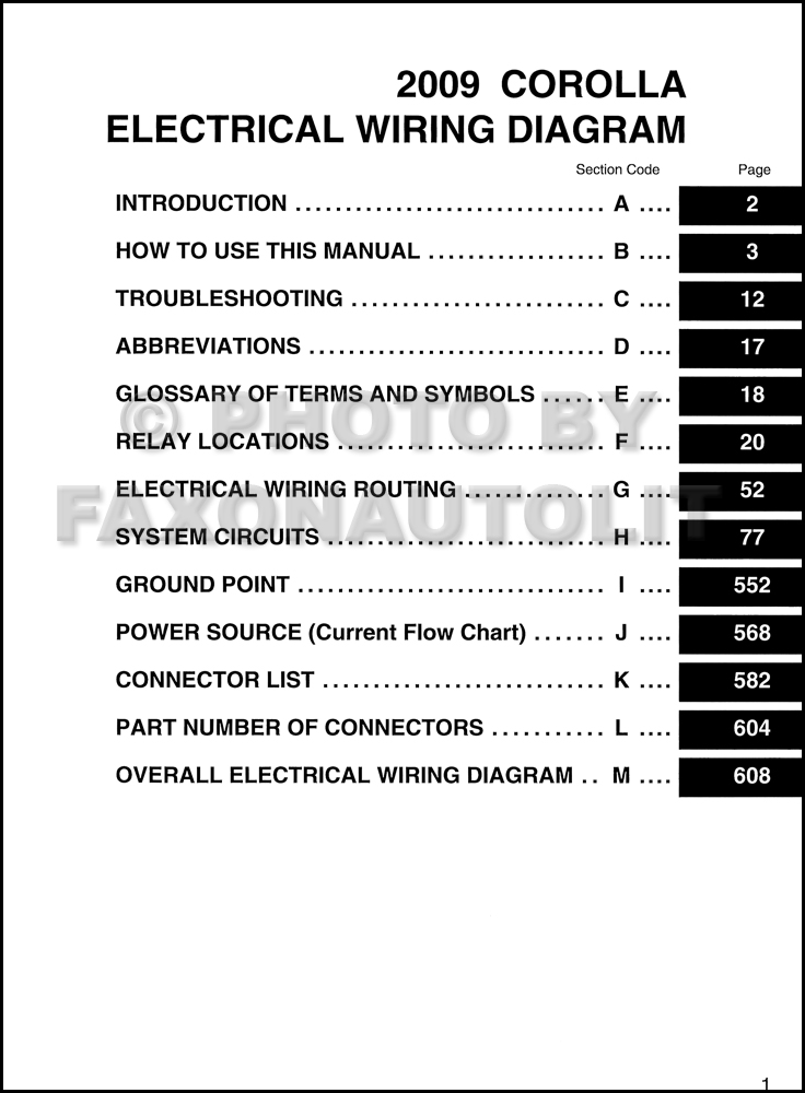 2009 Toyota Corolla Wiring Diagram Manual Original