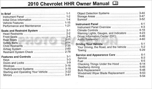 2010 chevrolet hhr owner s manual original rh faxonautoliterature com 2007 chevy hhr ls owners manual 2007 chevrolet hhr owners manual