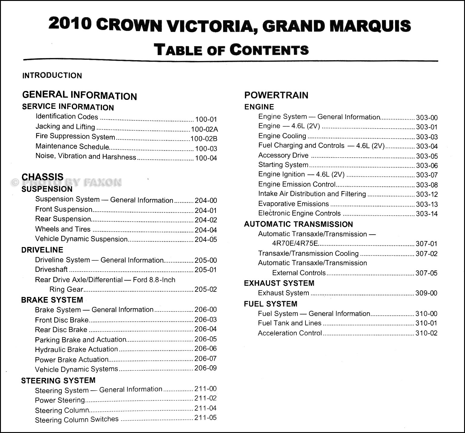 2010 Crown Victoria And Grand Marquis Repair Shop Manual