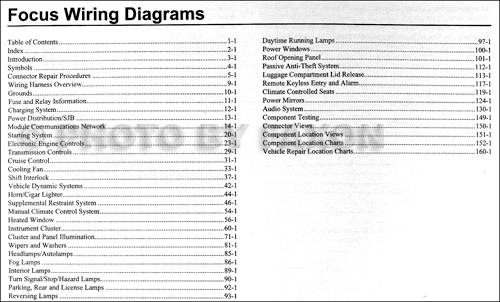 2010 Ford Focus Wiring Diagram Manual Original