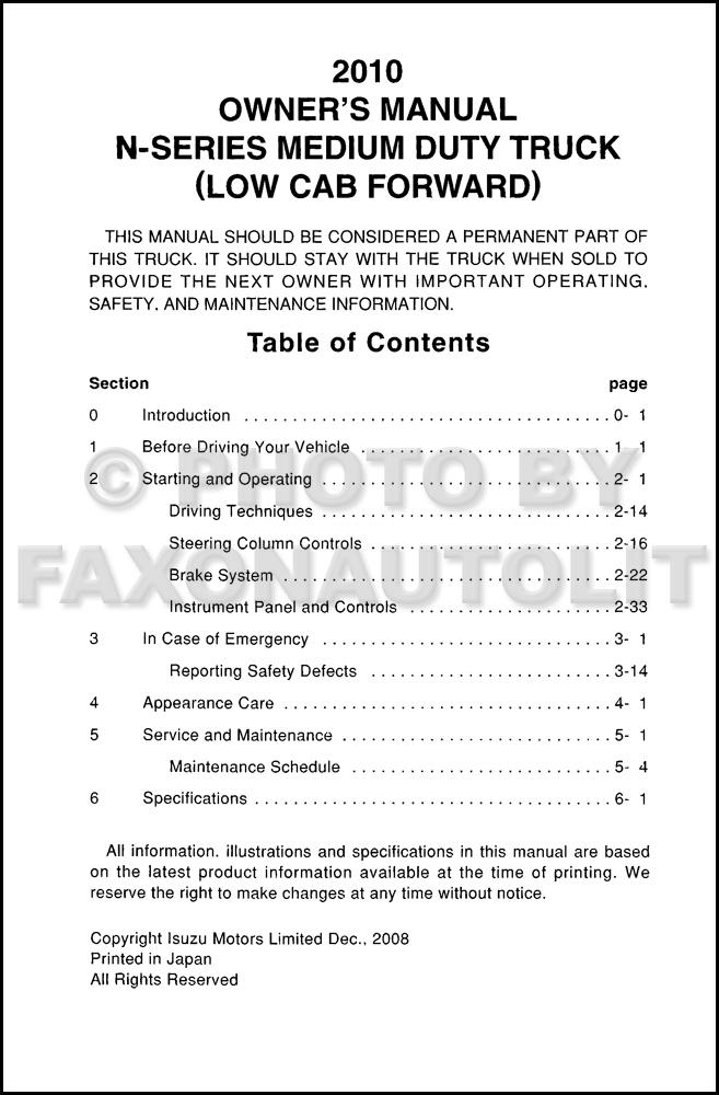 2010 isuzu npr hd diesel nqr nrr truck owner s manual original rh faxonautoliterature com isuzu owners manual pdf isuzu npr owners manual 2007