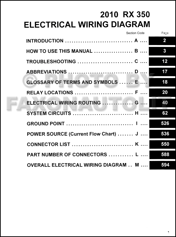 2010 Lexus Rx 350 Wiring Diagram Manual Original