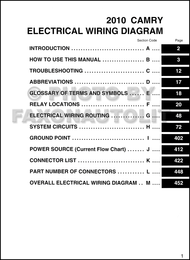 2013 toyota venza wiring diagram 2010 toyota camry wiring diagram manual original