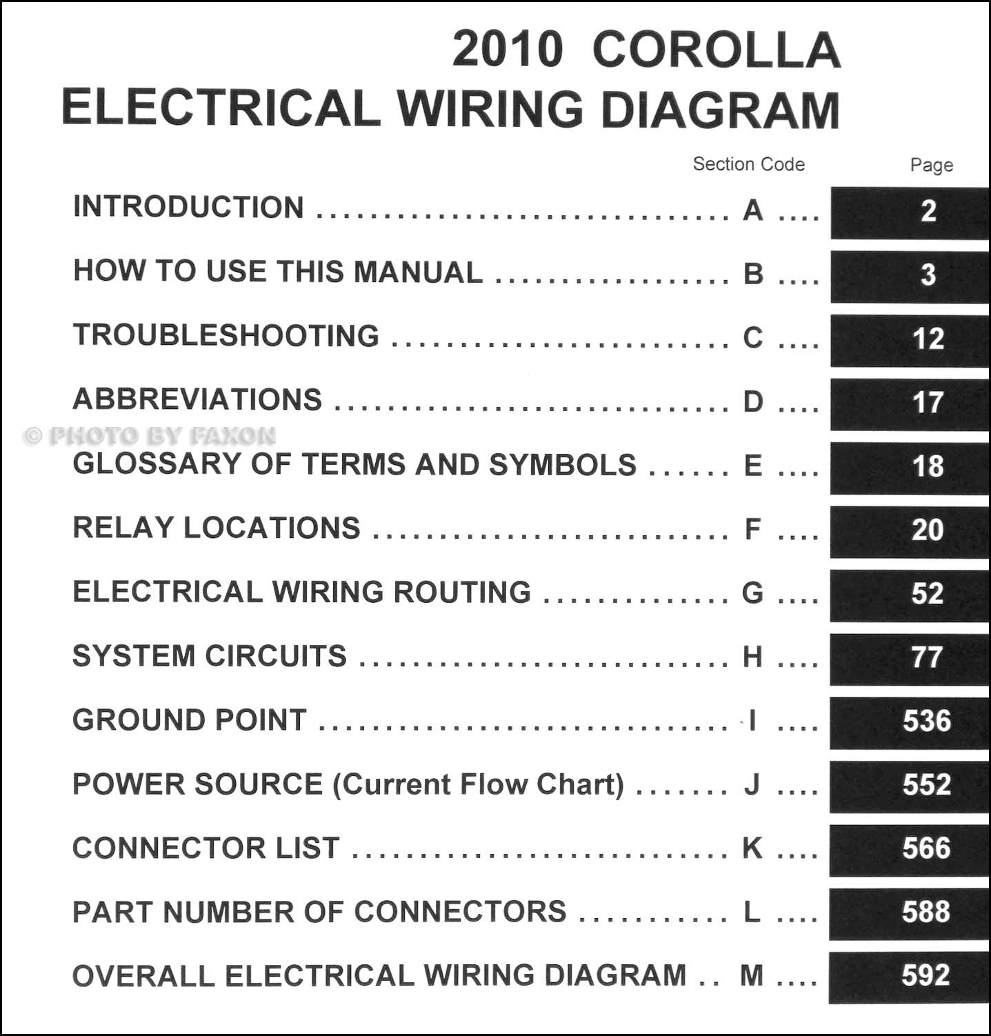 2010 toyota corolla wiring diagram manual original. Black Bedroom Furniture Sets. Home Design Ideas
