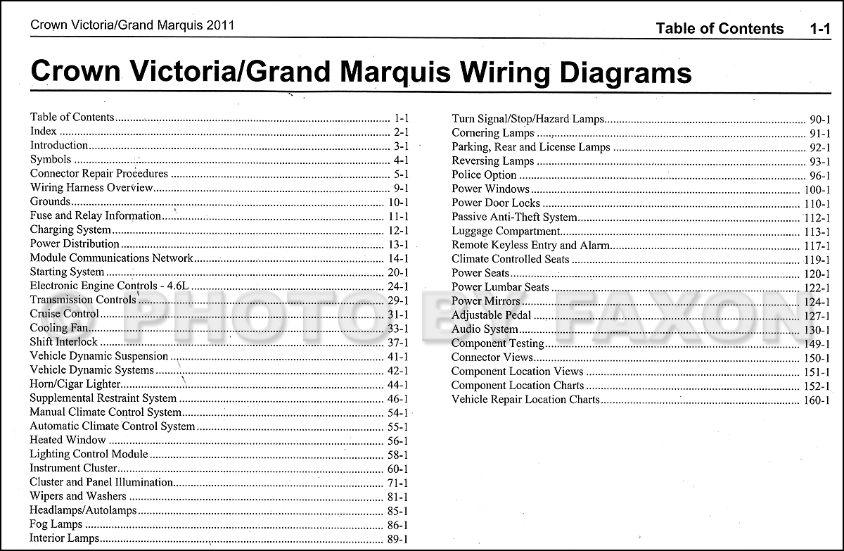 2011 ford crown victoria mercury grand marquis wiring