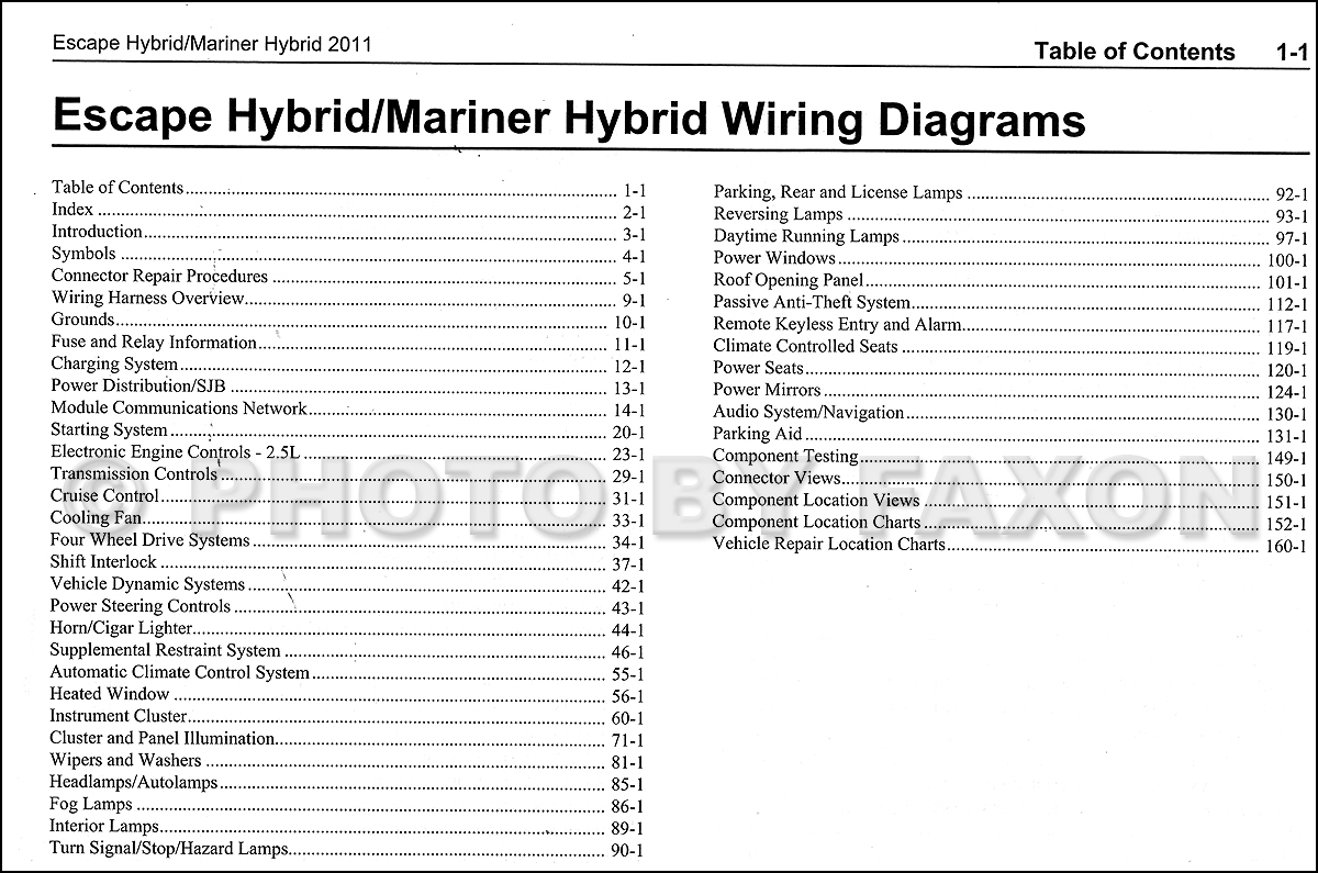 2011 Ford Escape Hybrid Mercury Mariner Hybrid Wiring Diagram Manual Original