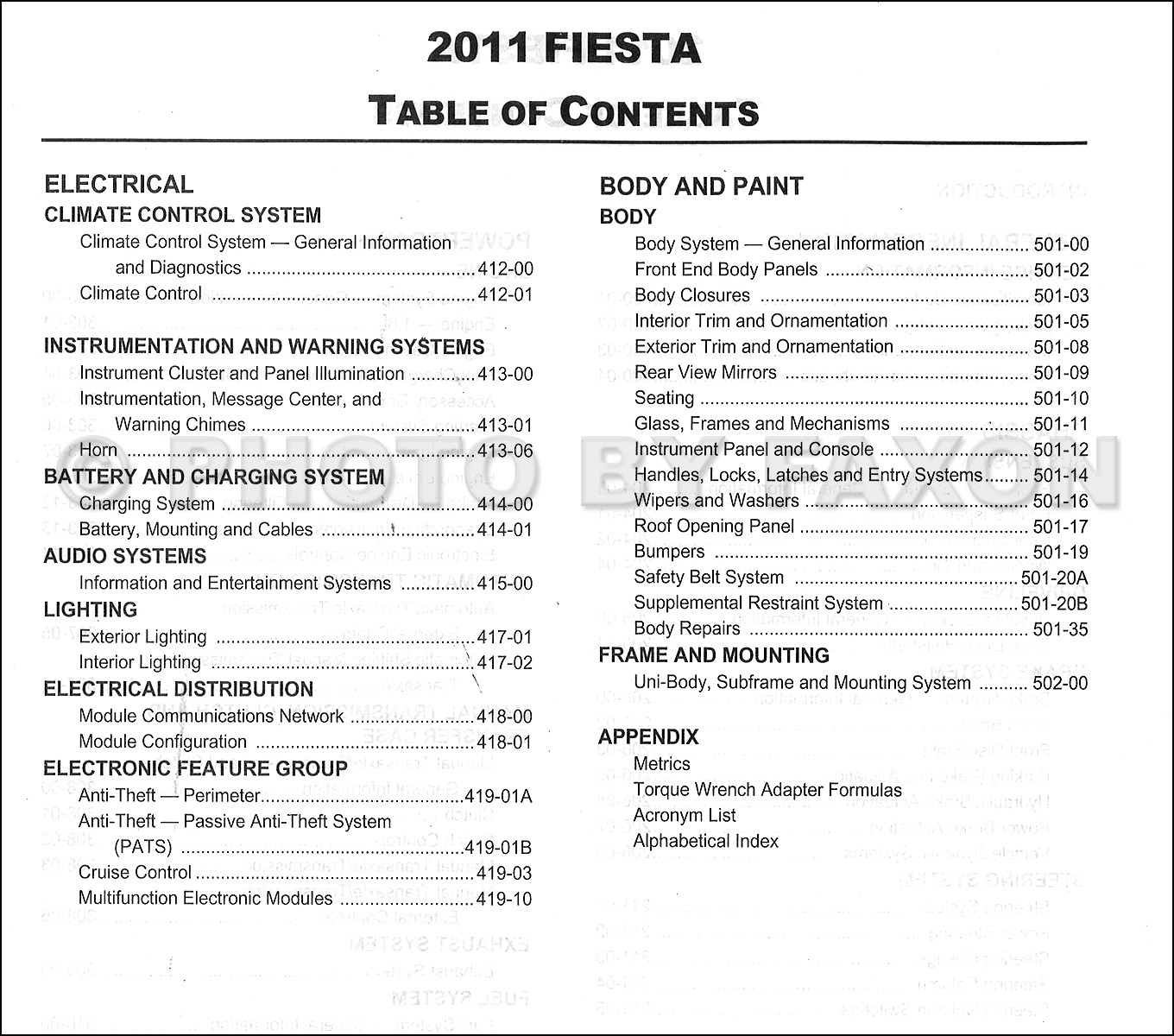 2011FordFiestaORM TOC2 2011 ford fiesta repair shop manual original fuse box diagram 2011 ford fiesta at gsmx.co